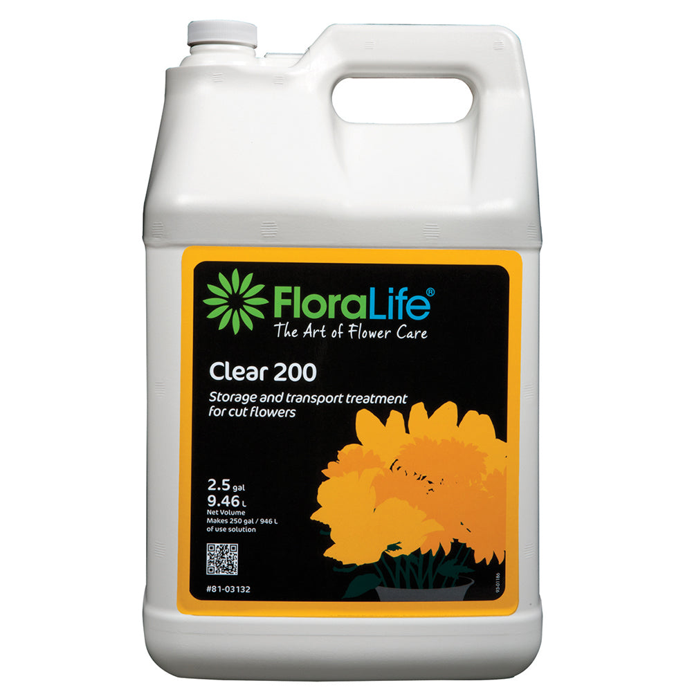 Floralife Clear 200 storage & transport treatment, 2.5 gal w/pump