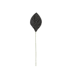 Atlantic Never Wilt™ Corsage Leaf, Glitter Black 2-1/4""