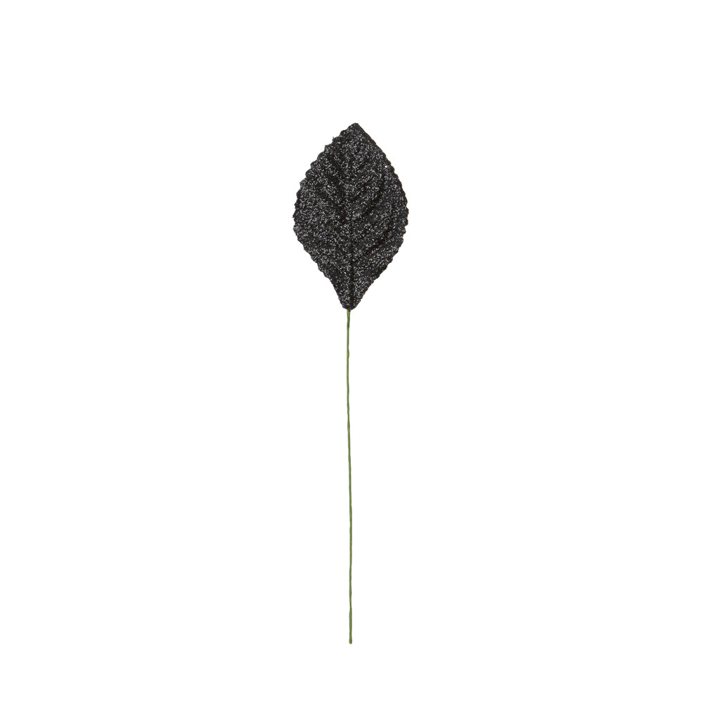 Atlantic Never Wilt™ Corsage Leaf, Glitter Black 2-1/4