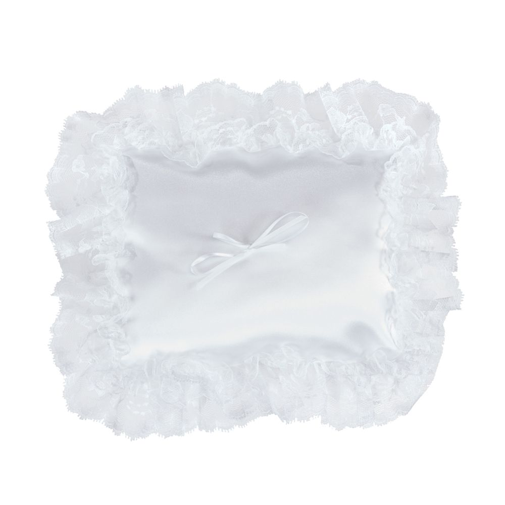 Atlantic Rectangle Pillow White Lace Ruffle 11-1/2