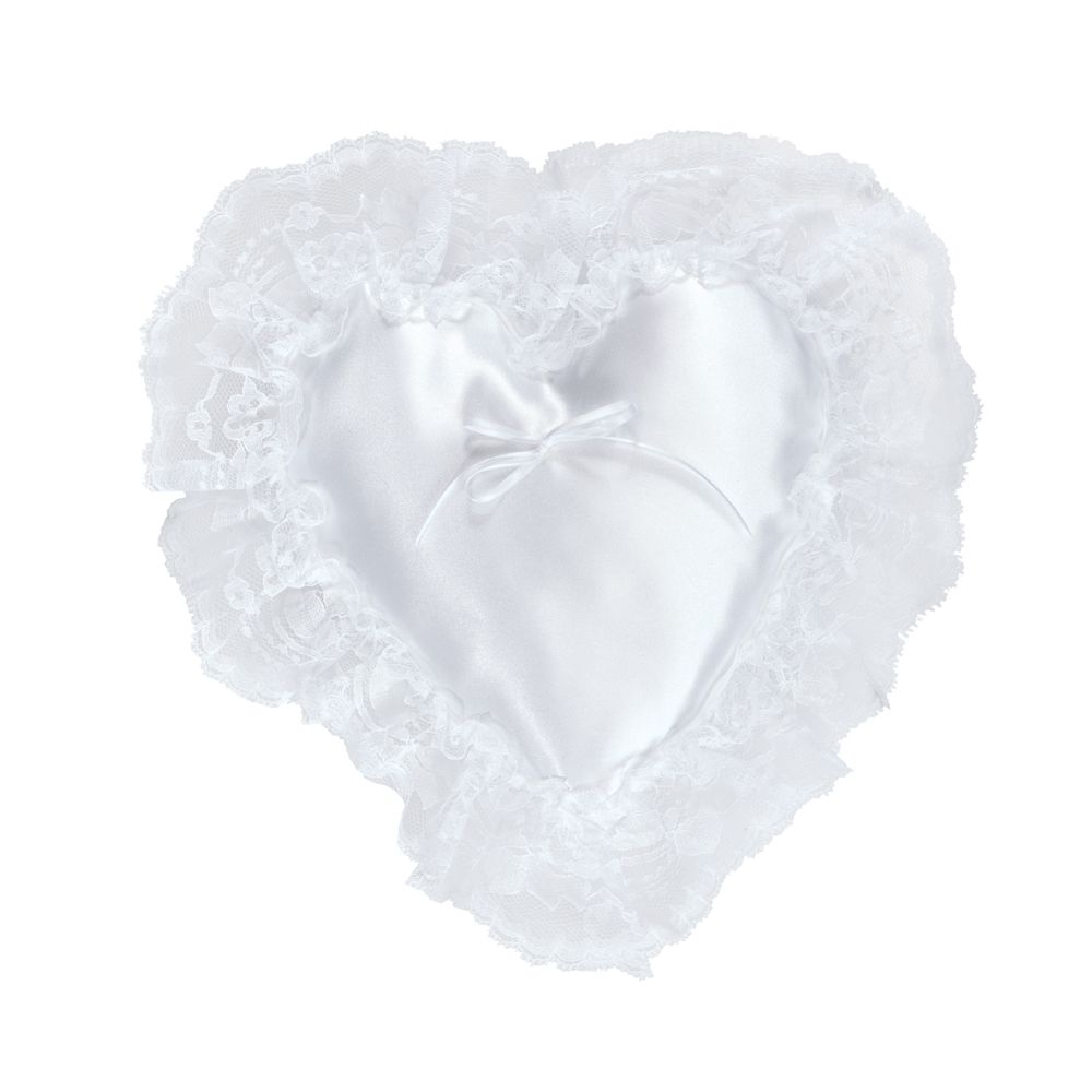 Atlantic Heart Pillow White Lace Ruffle 12-1/2