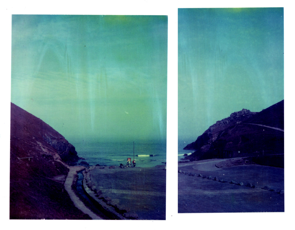 Polaroid panorama of chapel porth