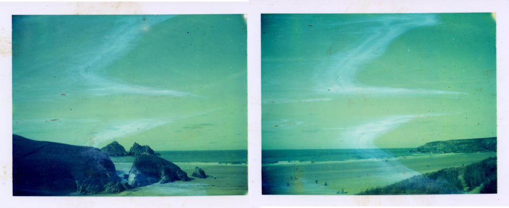 Polaroid panorama of Holywell Bay in Cornwall