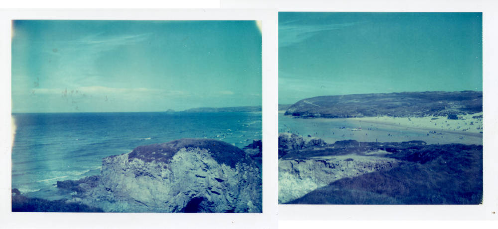 Polaroid panorama of Perranporth in Cornwall