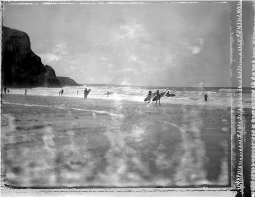 Summer swells at Porthtowan on Polaroid
