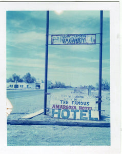 Polaroid image of Armagosa Hotel sign, death valley