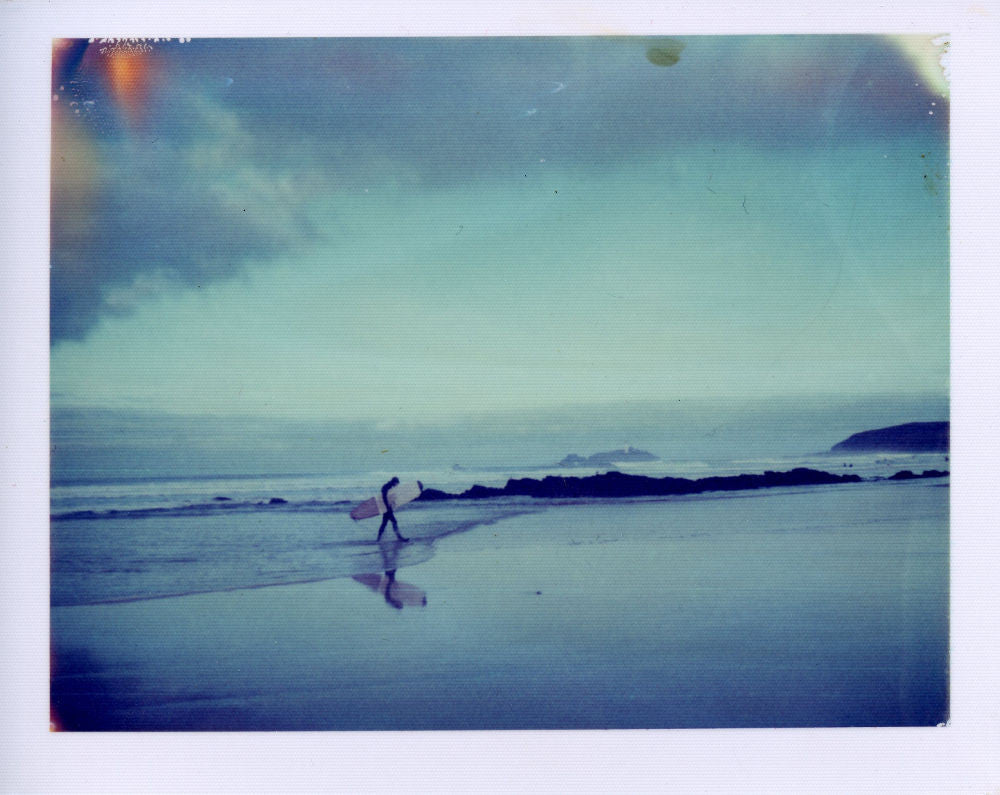 Polaroid of a surfer at Godrevy