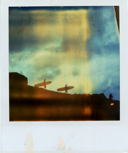 Polaroid image of surfers at Godrevy