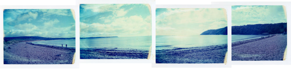 Polaroid panorama of Oxwich Bay on the Gower