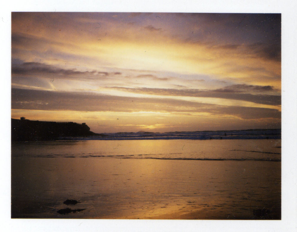 Polaroid of the sunset at Polzeath