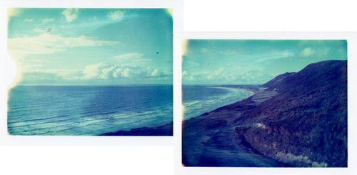 Polaroid panorama of Rhossili Bay on the Gower