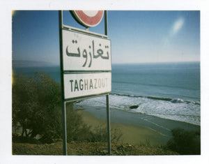 Polaroid of road sign in Taghazout, Morocco