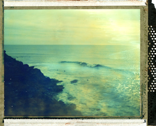 Polaroid image of surf at Porthleven