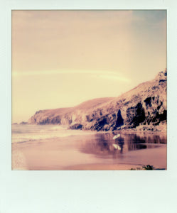 Polaroid of golden light at chapel porth