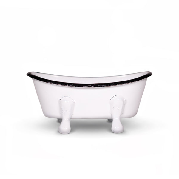 Farmhouse White Enameled Metal Bathtub Soap Dish