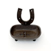 Iron horseshoe soap dish