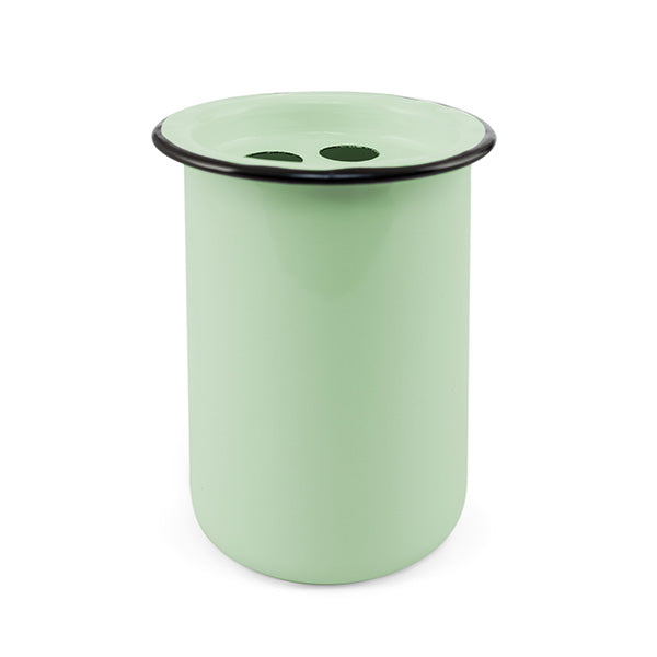 Green Enameled Metal Toothbrush Holder