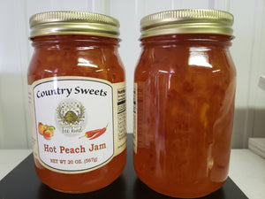 Country Sweets Hot Peach Jam 20 oz Jar
