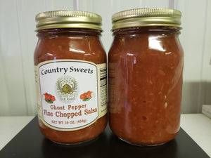 Country Sweets Hot Ghost Pepper Salsa 20 oz Jar