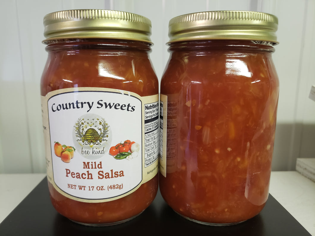 Country Sweets Mild Peach Salsa 17 oz Jar