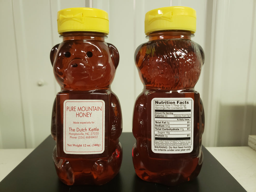 Pure Raw Mountain Honey 12 oz Plastic Bear