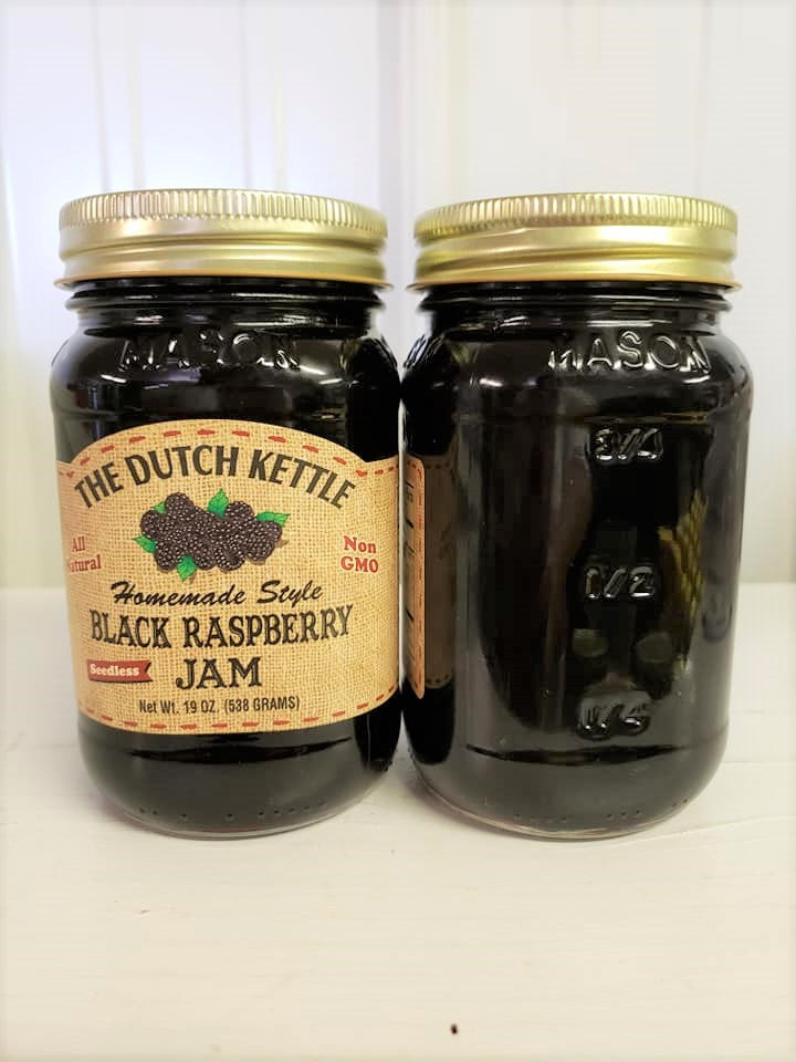 Dutch Kettle All Natural Homemade Seedless Black Raspberry Jam 19 oz Jar