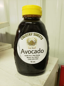 Country Sweets Pure Raw 1 Ibs / 16 oz.  Avocado Honey
