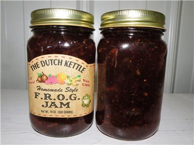 Dutch Kettle All Natural Homemade Frog Jam 19 oz Jar Fig, Raspberry, Orange, and Ginger
