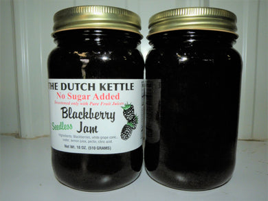 Dutch Kettle No Sugar Added All Natural Homemade Seedless Blackberry Jam 19 oz Jar