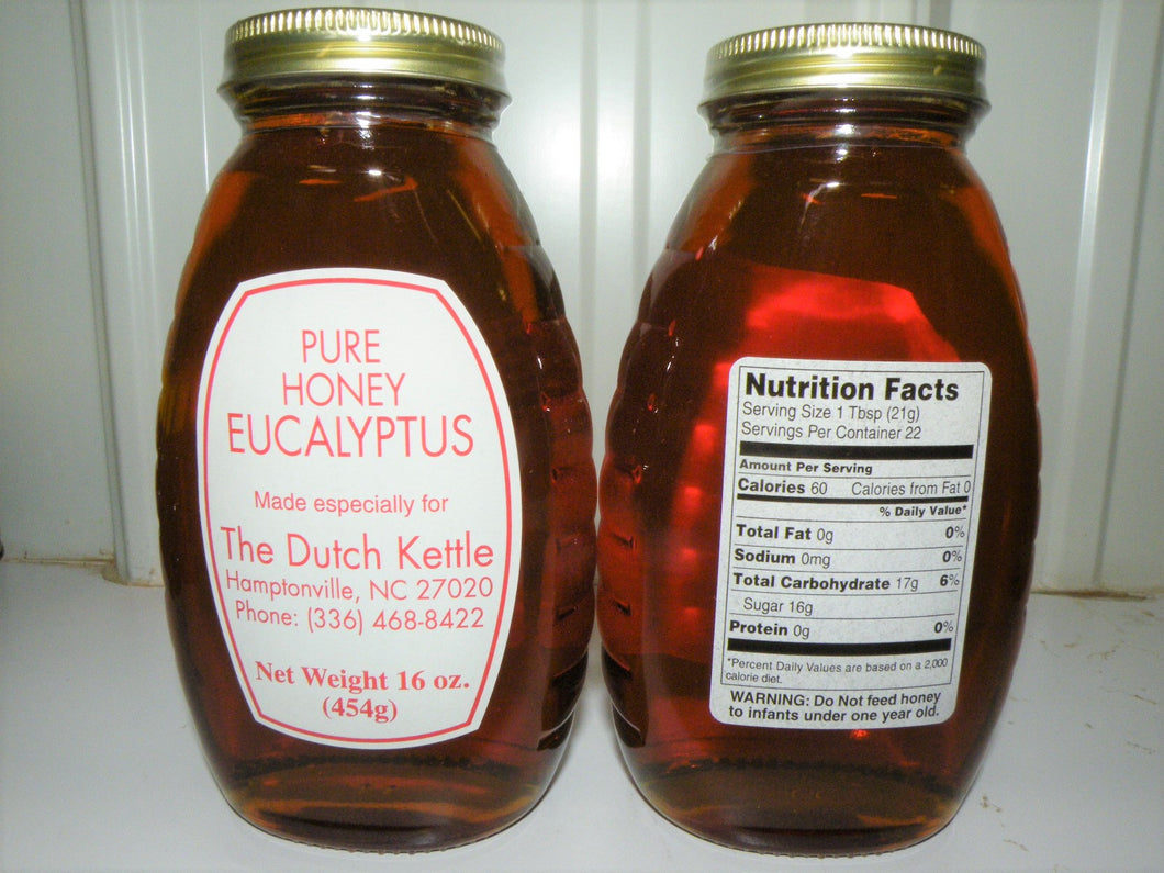 Dutch Kettle Pure Raw Eucalyptus Honey 16 Oz Glass Jar