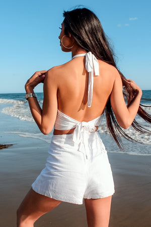 White linen set, adjustable halter top, open back, shorts