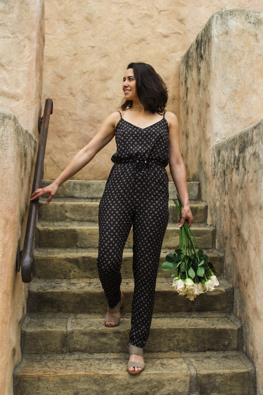 charcoal pants jumpsuit with white pattern and adjustable drawstrings at waist