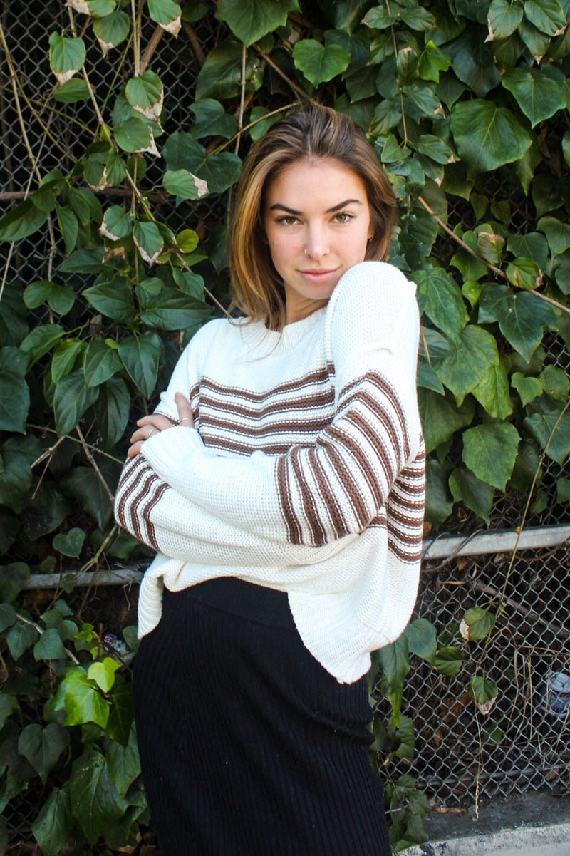 Olivia Striped Dolman Sweater | Diosa Life + Style Online Boutique