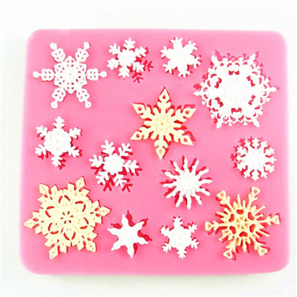 3D Christmas Snowflake Shape Silicone Molds Fondant Cookie Mold Candy Cake Decorating Moulds Kitchen Baking Tool Cake Decoration