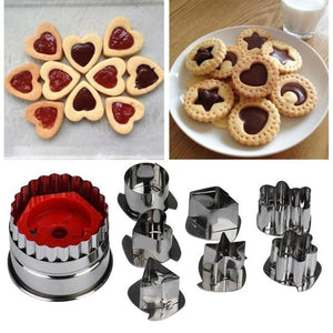 7Pcs/lot Cookie Cutter Tools 3D Scenario Stainless Steel Cookie Cutter Set Gingerbread Cake Biscuit Mould Fondant Cutter