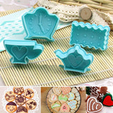 Hearts Clock Shape Cookies Cutter Molds Plastic Biscuit Fondant Cutter Plunger Stamps Kitchen Cake Decorating Tools 4Pcs/Set