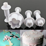 4pcs/set Flower Icing Piping Nozzles Sugarcraft Cupcake Cake Decorating Tools Plunger Mold Syringe Tips Pastry Pen Fondant Molds
