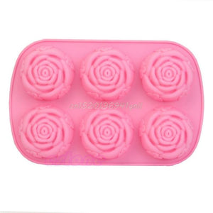 6 Rose Flowers 3D Silicone  Soap  Mould DIY Decoration Tool Bakeware#T025#