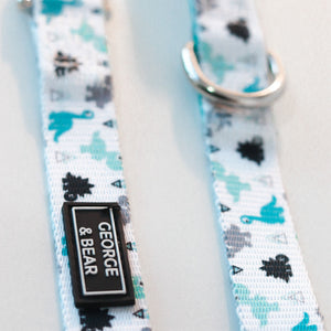 blue green dinosaur dog lead/leash - george and bear