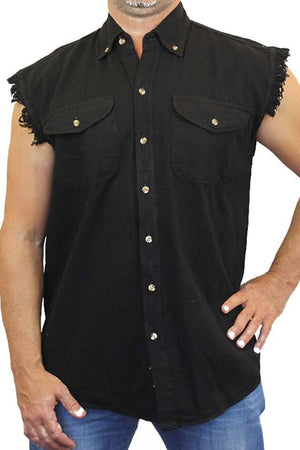 Men's Sleeveless Denim Shirt 2nd Amendment My Gun
