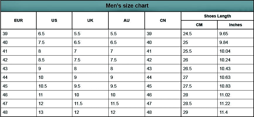 Alforca Safety Shoes Size Chart