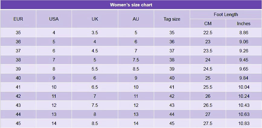 Alforca Women Safety Shoes Size Chart