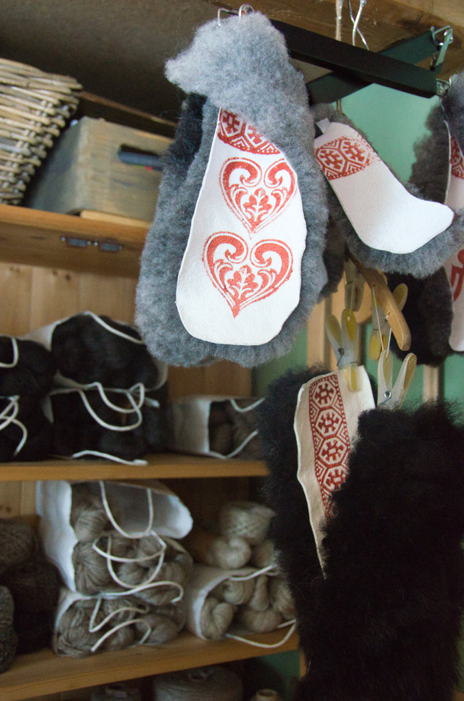 Yarn and printed sheepskin insoles