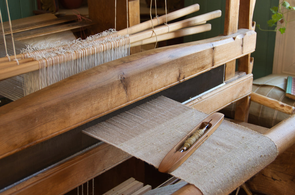 Large floor loom, weaving flax and wool