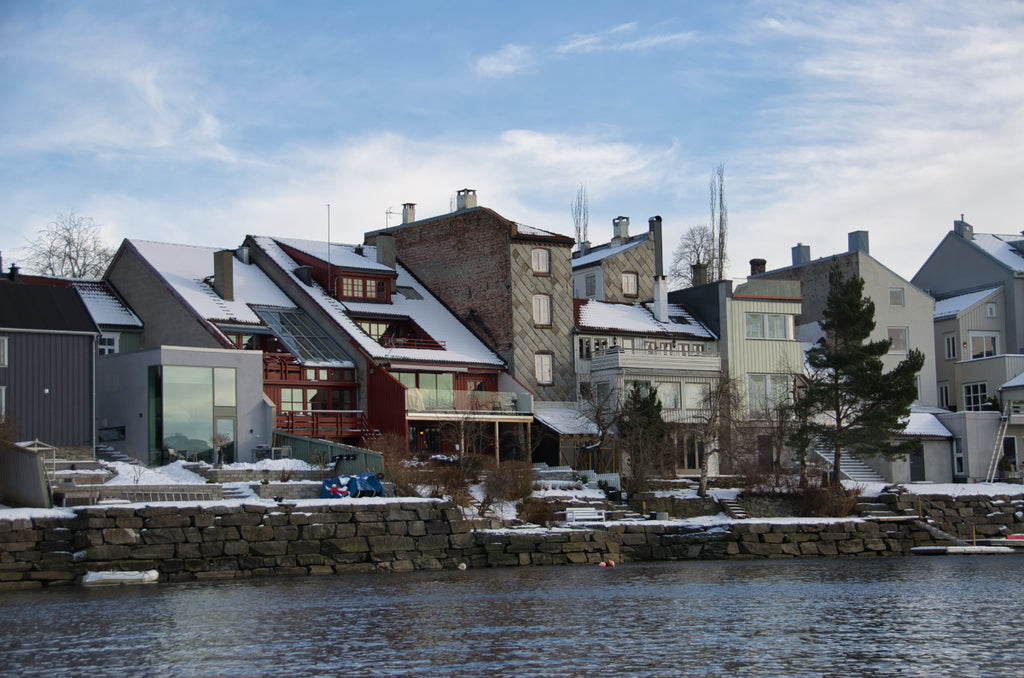 Houses by the river in Trondheim