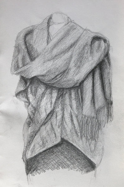Pencil sketch of draped fabric