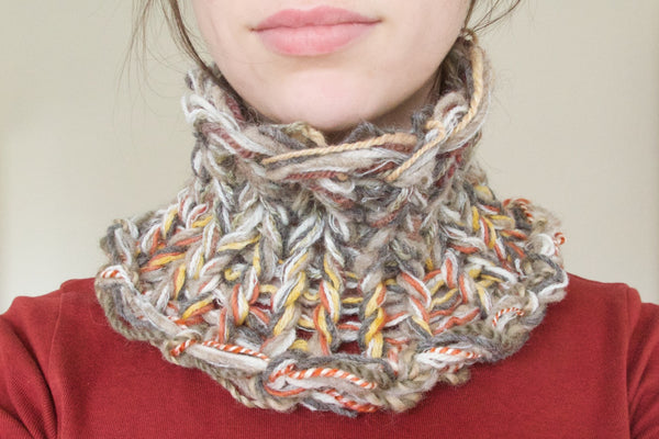 Textured loom-knitted cowl