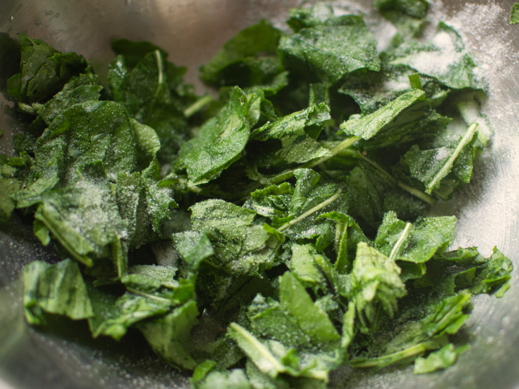 Woad leaves sprinkled with salt