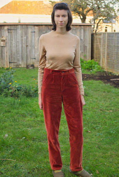 Marina Skua red velvet trousers