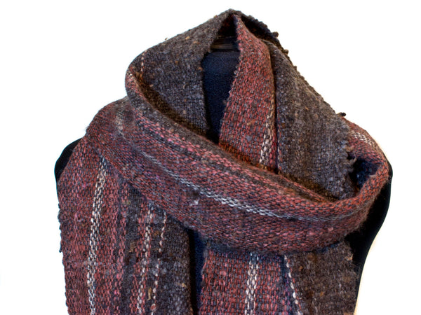Hand-woven scarf in wool and alpaca
